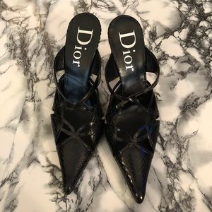 Dior Black Textured Snakeskin Stiletto Mules 🖤